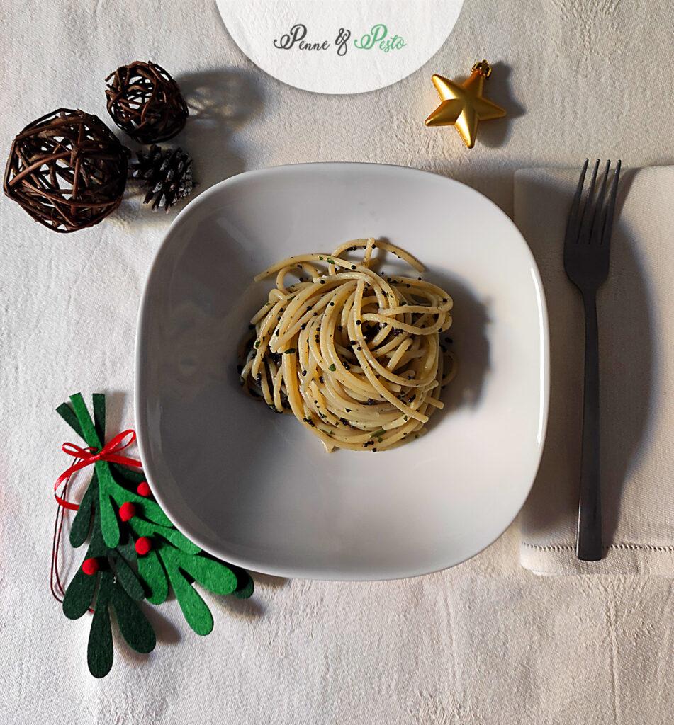 Spaghetti con uova di lompo